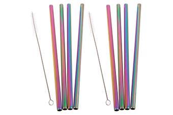 8pc Appetito Straight Stainless Steel Smoothie Milkshake Straws w Cleaning Brush