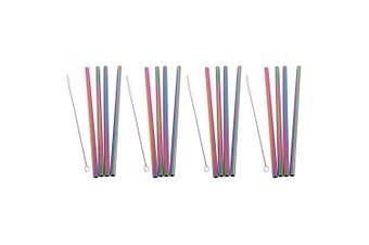 16pc Appetito Straight Stainless Steel Smoothie Milkshake Straws Cleaning Brush