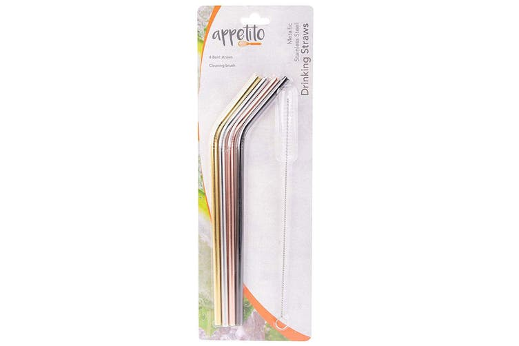 4pc Appetito Stainless Steel Metal Bent Drinking Straws w Cleaning Brush Assort.