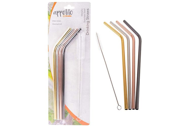 8pc Appetito Stainless Steel Metal Bent Drinking Straws w Cleaning Brush Assort.