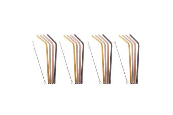 16x Appetito Stainless Steel Metal Bent Drinking Straws w Cleaning Brush Assort.