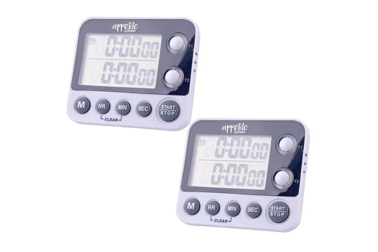 2x Appetito Dual Timer Electronic Digital Kitchen Timer Magnetic Self Standing
