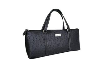 Sachi Insulated Wine Cooler Travel Bag Purse Tote Carrier Handbag Ostrich Black
