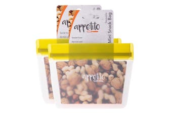 2x Appetito 14.5cm Reusable Mini Snack Nuts Food Storage Fruit Seal Zip Lock Bag