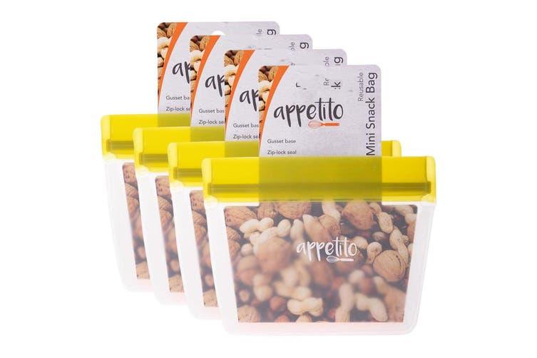 4x Appetito 14.5cm Reusable Mini Snack Nuts Food Storage Fruit Seal Zip Lock Bag