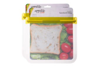 2PK Appetito 21.5cm Reusable Sandwich Nuts Food Veggie Fruit Seal Zip Lock Bag