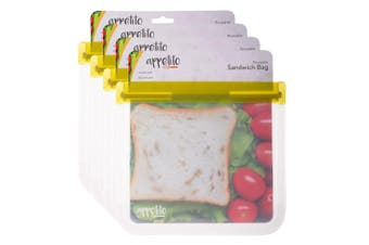 4PK Appetito 21.5cm Reusable Sandwich Nuts Food Veggie Fruit Seal Zip Lock Bag
