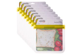 8PK Appetito 21.5cm Reusable Sandwich Nuts Food Veggie Fruit Seal Zip Lock Bag