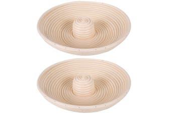 2x Bakemaster 28cm Round Proving Rattan Bread Dough Bake Raising Basket Bakeware