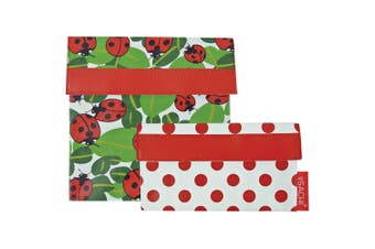 2pc Sachi Reusable Sandwich Snack Lunch Travel Pouch Pockets Bag Lady Bug Set