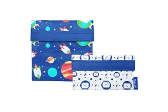 2pc Sachi Reusable Sandwich Snack Lunch Travel Pouch Pocket Bag Outer Space Set