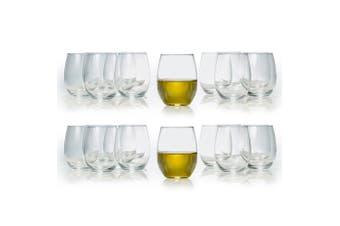 24pc Salt & Pepper Borello 500ml Stemless Red White Wine Glasses Tableware Set