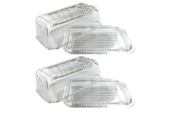 2x Kitchen Works Glass Butter Dish w  Lid Container Holder Storage Clear