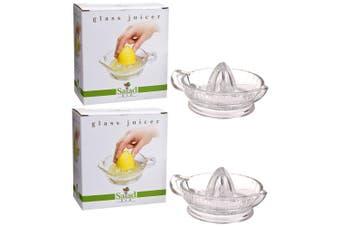 2x D.Line Salad Bar Glass Lemon Lime Citrus Orange Press Manual Hand Juicer
