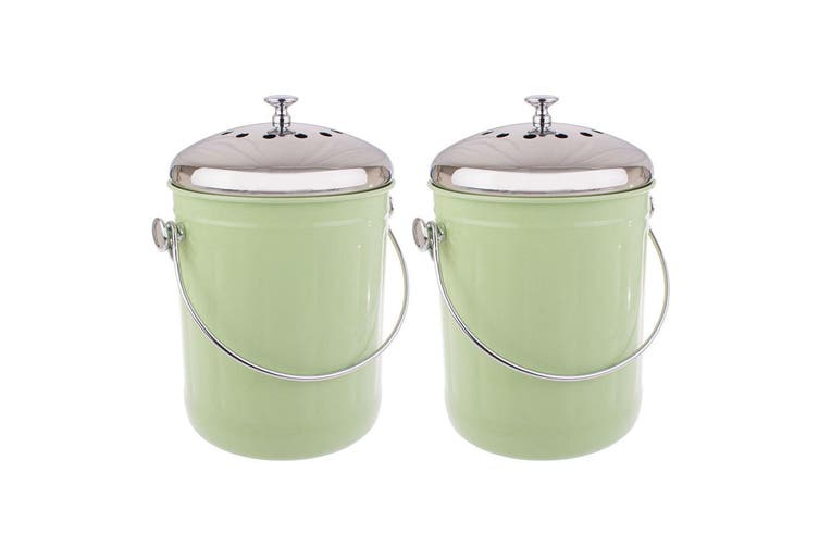 2x Appetito 5L Compost Food Waste Scrap Trash Kitchen Veggie Canister Bin Green