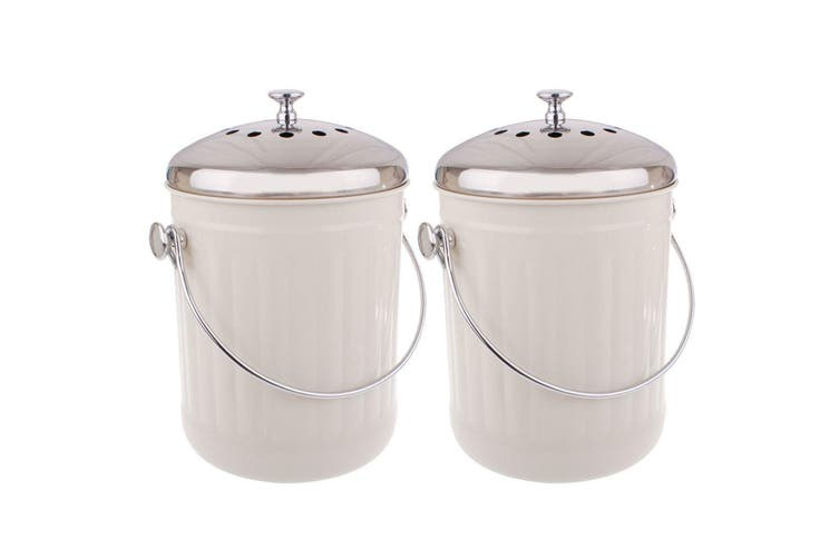 2x Appetito 5L Compost Food Waste Scrap Trash Kitchen Veggie Canister Bin White