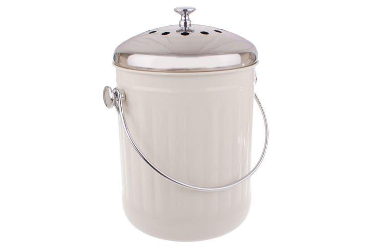 2x Appetito 5L Compost Food Waste Scrap Trash Kitchen Veggie Canister Bin White