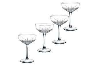 4pc Pasabahce Timeless 255ml Clear Champagne Cocktail Saucer Coupe Glasses