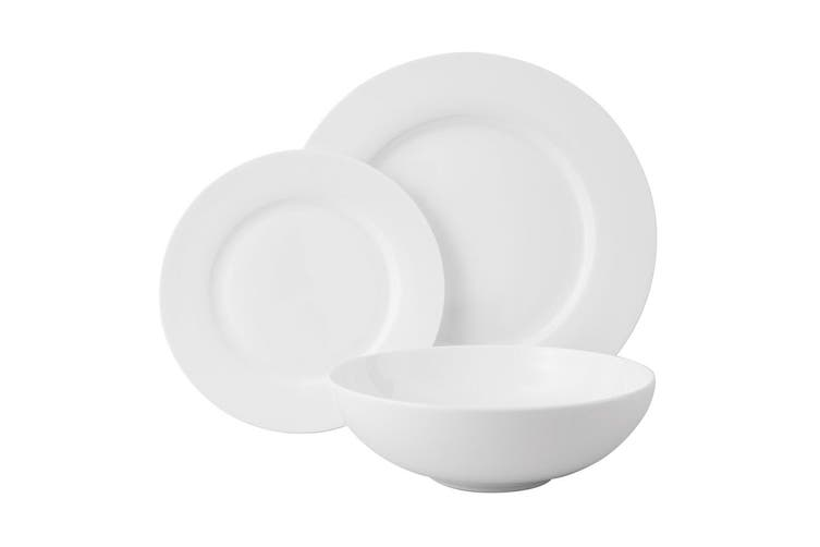 12pc Wilkie Brothers Rim Royale Fine Bone China Dinner Set Plates Bowls White