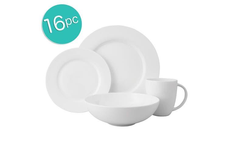 16pc Wilkie Brothers Rim Royale Fine Bone China Dinner Set Plate Bowl Mugs White