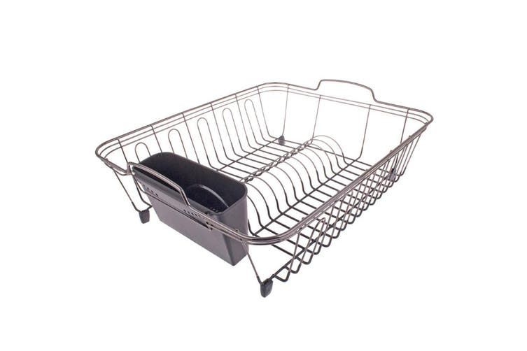 D.Line Large Dish Drainer 45.5cm Kitchen Cutlery Holder Storage Rack Nickel BLK
