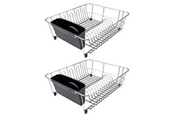 2x D.Line Dish Rack Drying Holder Tray Kitchen Cup Plates Cutlery Drainer Black