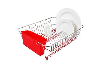 D.Line Dish Rack Drying Holder Tray Kitchen for Cup Plates Cutlery Drainer Red