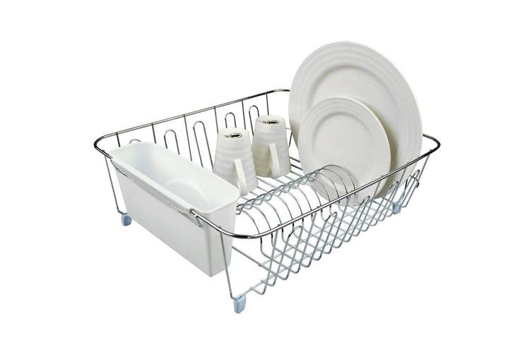 D.Line Dish Rack Drying Holder Tray Kitchen for Cup Plates Cutlery Drainer White