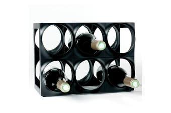 Nuance 6 Bottle Plastic Wine Rack Bar Organiser Storage Holder Shelf Stand Black