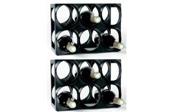 Nuance 12 Bottle Plastic Wine Rack Bar Organiser Storage Holder Shelf Stand BLK