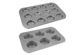 2pc RACO Aerolift Non Stick Steel 12 Cup Bun Pan 6 Cup Jumbo Muffin Pan Mould
