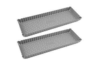 2x Raco Aerolift 34cm Rectangular Tart Pan Non Stick Baking Tin Dish Tray Silver