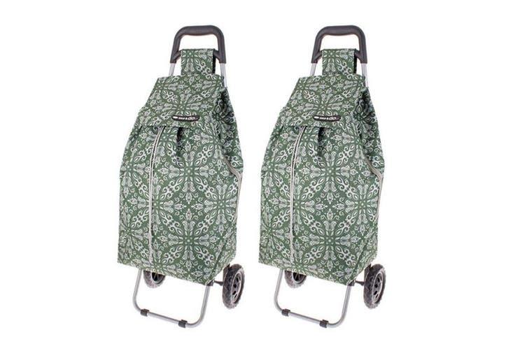 2PK Shop & Go Sprint Grocery Shopping Trolley Portable Bag Wheels Bohemian Green