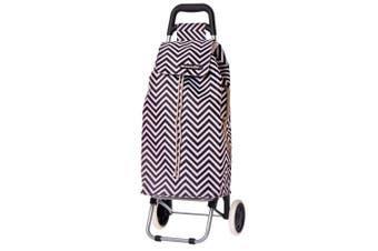 Shop & Go Sprint Grocery Shopping Trolley Portable Bag Wheels Chevron Stripe