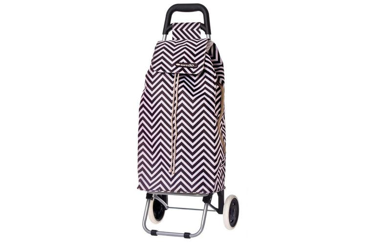 Shop & Go Sprint Grocery Shopping Trolley Portable Bag Wheels Chevron Stripe