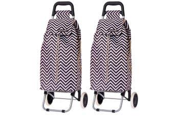 2PK Shop & Go Sprint Grocery Shopping Trolley Portable Bag Wheels Chevron Stripe
