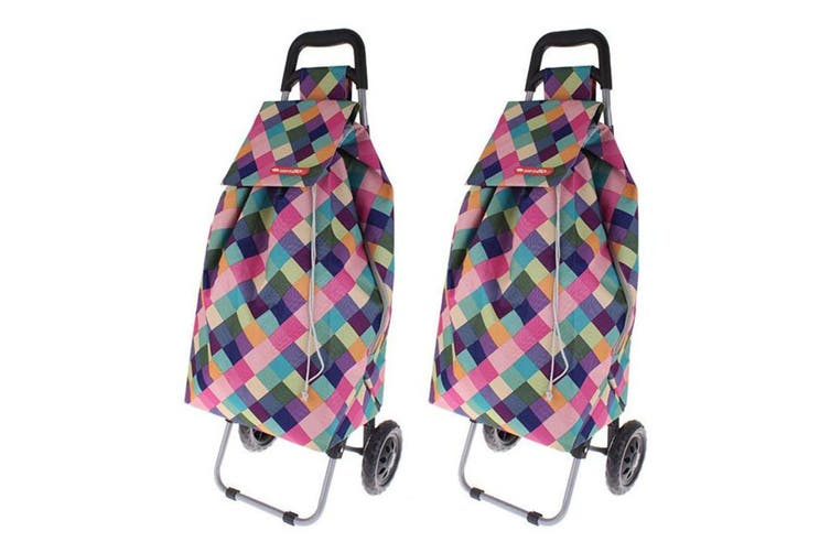 2PK Shop Go 12kg Sprint Shopping Trolley Grocery Food Bag Cart 2 Wheels HLQN
