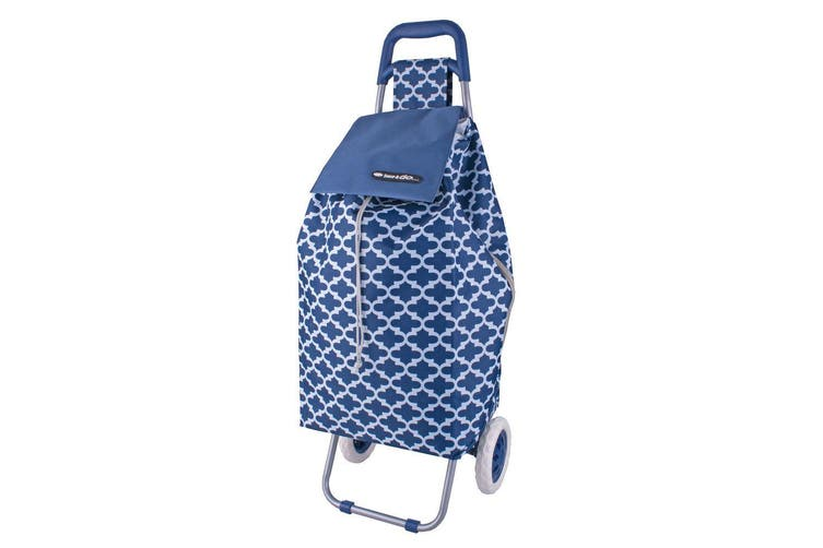 D.Line 12kg Sprint Shopping Trolley Grocery Food Bag Cart Storage 2 Wheels Navy