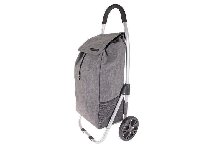 2PK Shop & Go Urban Aluminium Shopping Trolley Grocery Bag Basket Charcoal Grey