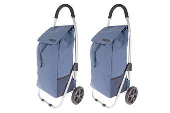 2x Shop & Go Urban Aluminium Shopping Trolley Grocery Cart Bag Basket Steel Blue