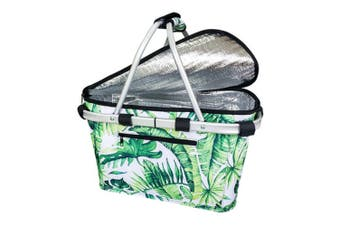 Sachi Collapsible Foldable Insulated Picnic Shopping Basket w  Lid Jungle Leaf
