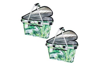 2x Sachi Collapsible Foldable Insulated Picnic Shopping Basket w Lid Jungle Leaf