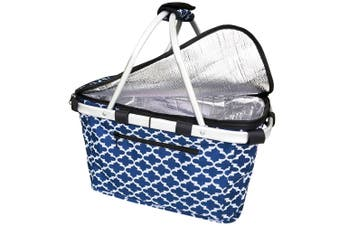 Sachi Collapsible Foldable Insulated Picnic Shopping Basket w  Lid Moroccan Navy