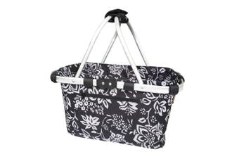 Sachi 49cm Collapsible Foldable Picnic Shopping Carry Basket Camellia Black