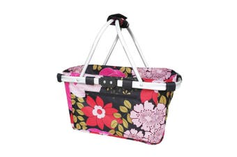 Sachi 49cm Collapsible Foldable Picnic Shopping Carry Basket Floral Blooms