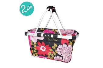 2x Sachi 49cm Collapsible Foldable Picnic Shopping Carry Basket Floral Blooms