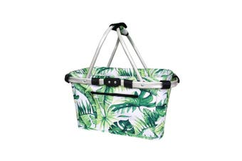 Sachi 49cm Collapsible Foldable Picnic Shopping Carry Basket Jungle Leaf
