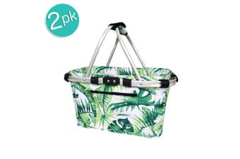 2x Sachi 49cm Collapsible Foldable Picnic Shopping Carry Basket Jungle Leaf