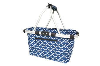 Sachi 49cm Collapsible Foldable Picnic Shopping Carry Basket Moroccan Navy