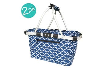 2x Sachi 49cm Collapsible Foldable Picnic Shopping Carry Basket Moroccan Navy
